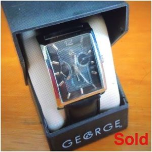 George Mens Watch -Silver Plated Brass Case